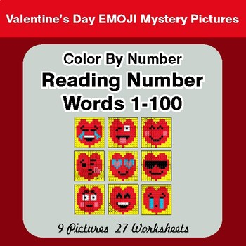 Valentine's Day - Reading Number Words 1-100 - Color By Number Mystery Pictures