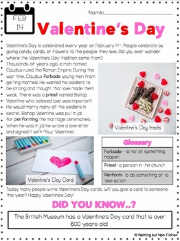 Valentine's Day Reading Passage and Flipbook