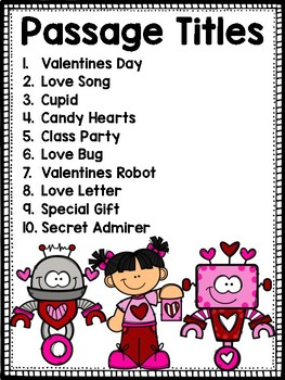 Valentine's Day Reading Passages Differentiated
