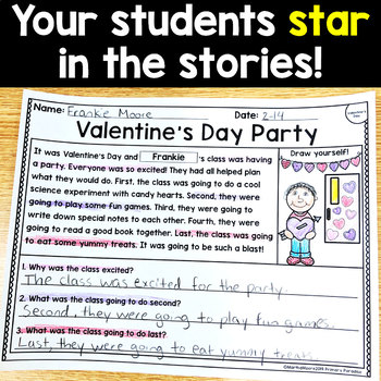 Valentine's Day Reading Passages: PERSONALIZED Comprehension February