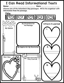 Valentine's Day Reading Passages and Printables
