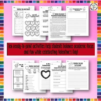 Valentine's Day Reading, Writing, Math, & Fun Activities & Worksheets- 3rd Grade