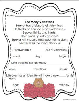 Valentine's Day Reading comprehension passages and questions  Bear's Word Game!