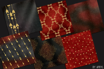 Valentine's Day Red Black Gold Glitter 12x12 Digital Paper Texture Background
