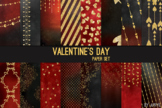 Valentine's Day Red Black Gold Glitter 12x12 Digital Paper
