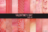 Valentine's Day Red Pink Glitter 12x12 Digital Paper Art T