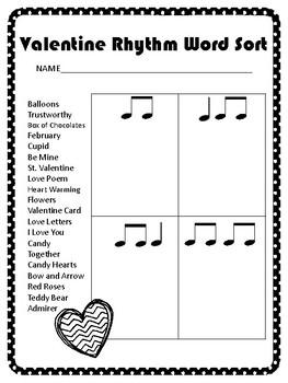 Valentine's Day Rhythm Word Sort