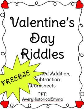 Valentine's Day Riddles - Addition - FREEBIE