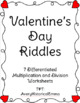 Valentine's Day Riddles - Addition, Subtraction, Multiplication, & Division!