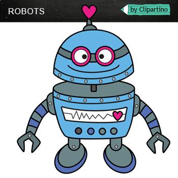 Valentine's Day Robots Clip Art