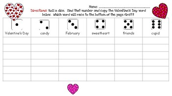 Valentine's Day Roll & Spell Activity