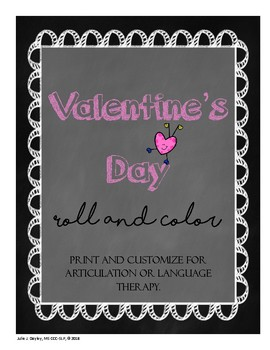 Valentine's Day Roll and Color for Articulation or Language Therapy