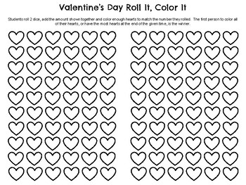 Valentine's Day Roll and Color Partner Game