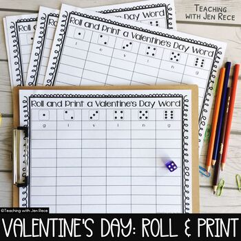 Valentine's Day Roll and Write Letter Game