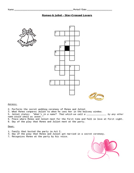 Valentine's Day - Romeo and Juliet (Crossword Puzzle)