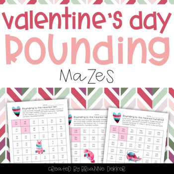 Valentine's Day Rounding Maze Worksheets