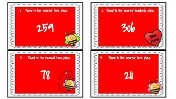Valentine's Day Rounding Task Cards- 10's and 100's Place Value