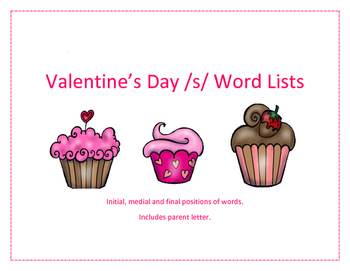 """Valentine's Day """"S"""" Word Lists"""