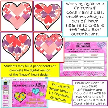 "Valentine's Day STEM Challenge: ""Heavy"" Hearts 1:1 Paperless Version"