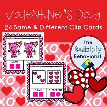 Valentine's Day Same & Different Clip Cards