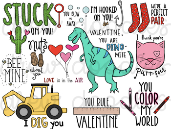 Valentine's Day Sayings Digital Clip Art- Color and Black Line COMBO