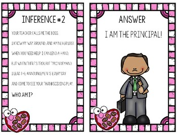 Valentine's Day School Staff Inference Riddles