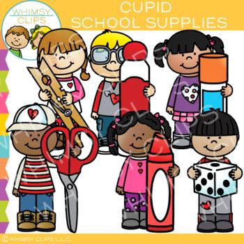 School Supplies for Valentine's Day Clip Art