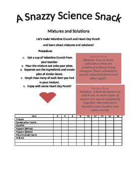 Valentine's Day Science Mixture and Solutions Activity