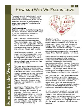 Valentine's Day Science:  The Science of Love  Leveled Informational Text