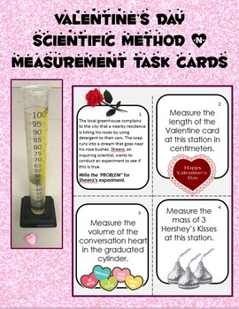 Valentine's Day Scientific Method & Measurement Review Task Cards, editable!
