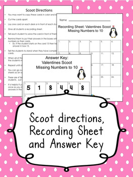 Valentine's  Day Scoot for Missing Numbers 1-10