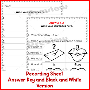 Sight Word Scrambled Sentences Valentine's Day 1st-3rd Grades
