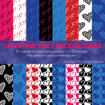 Valentine's Day Scrapbook Paper/Backgrounds for Personal and Commercial Use