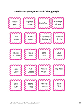 Valentine's Day Second Grade Common Core Aligned Vocabulary Activity Packet