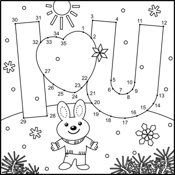 Valentine's Day Secret Message Connect the Dots and Coloring Page, CU