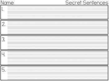 Valentine's Day Secret Sentences