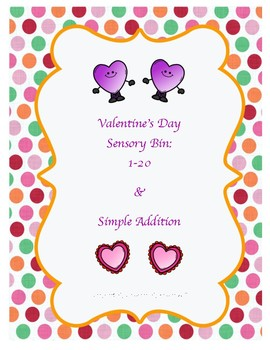 Valentine's Day Sensory Bin Number Search 1-20 & Simple Addition