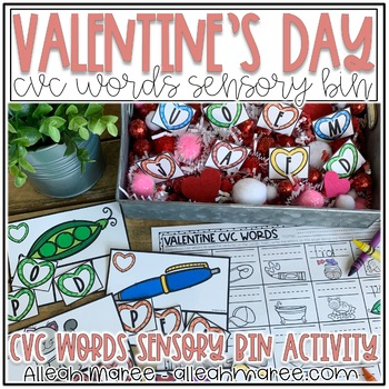 Valentine's Day Sensory Bin for CVC Words