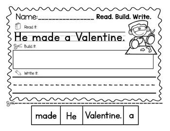 Valentine's Day Sentence Builders