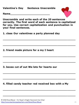 Valentine's Day Sentence Unscramble Task Cards and Worksheets