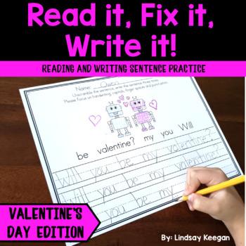 Valentine S Day Sentence Writing Worksheets Teaching