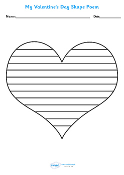 Valentine's Day Shape Poetry Template
