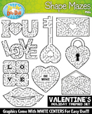 Valentine's Day Shaped Mazes Clipart {Zip-A-Dee-Doo-Dah Designs}