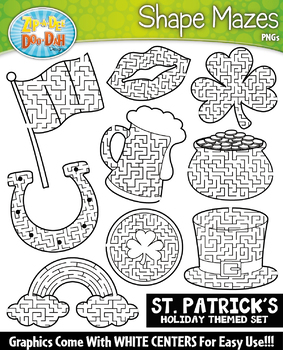 St Patrick's Day Shaped Mazes Clipart {Zip-A-Dee-Doo-Dah Designs}