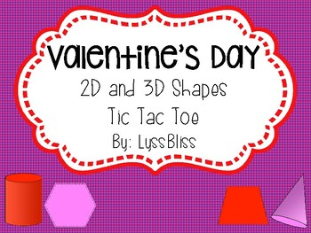 Valentine's Day Shapes Tic Tac Toe