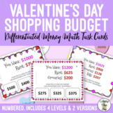 Valentine's Day Shopping Budget Differentiated Money Math Task Cards