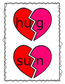 Valentine's Day Short Vowel CVC Words Broken Hearts Activity