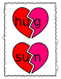 Valentine's Day Short Vowel CVC Words Broken Hearts Activity