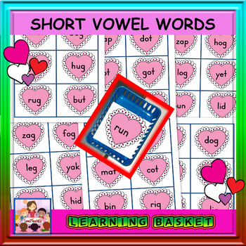 Valentine's Day Short Vowel Word Cards -36 words