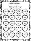 Valentine's Day - Short and Long Vowels Worksheet